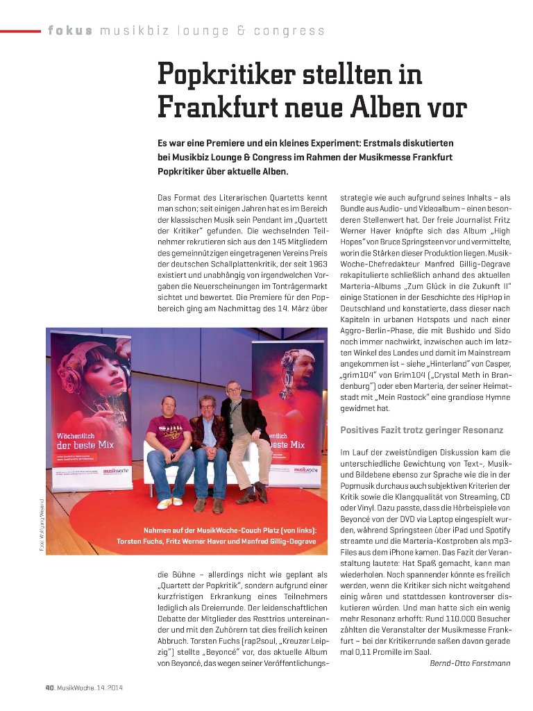 BILD ANKLICKEN, um den Bericht von Bernd-Otto Forstmann in der MusikWoche zu lesen.